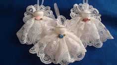 Set of three white battenburg style lace by AudreysAngels on Etsy Handmade Angels, Handmade Gifts, Dollar Stores, Babys, Christmas Crafts, Make It Yourself, Trending Outfits, Unique Jewelry, Lace