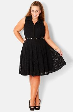 City Chic Belted Lace Fit & Flare Dress   Nordstrom