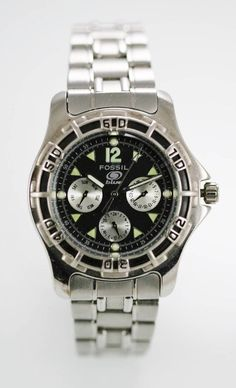 3f269ec0f Fossil Watch Men Day Date 24hr Stainless Silver Water Resistant 50m Gray  Quartz
