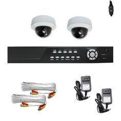 """Complete 4 Channel CCTV DVR (1T HD) Surveillance Video System Package with (2) x 700 TVL  1/3"""" SONY CCD WDR Vari-Focal 4~9mm manual lens, 30pcs IR LED, 82 Feet IR Distance Outdoor Security dome Cameras by Gw. $570.00. Package Includes:      GW2544SV-N DVR with 1T HDD;     Remote Control and mouse;     2 x GW2011WD -1/3"""" SONY CCD WDR Camera;     2 x GW60CAW: 60 feet pre-made cable BNC;     2 x GW12V1A: 12V 1A Power Supply for Security Cameras."""