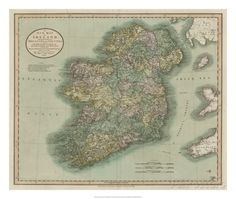 Vintage Map of Ireland Giclee Print by John Cary at AllPosters.com