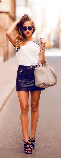 #summer #fashion / leather