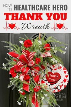 Learn how to make this beautiful wreath that is for your special healthcare worker. You will also get the step by step instructions of HOW TO MAKE A BOW! | Southern Charm Wreaths