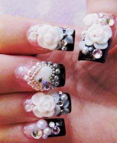 bling up nails - Pink Bling Nails, Rhinestone Nails, Fancy Nails, Crazy Nail Art, Crazy Nails, Rose Nails, Flower Nails, Really Cute Nails, Pretty Nails