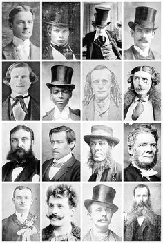 Victorian Men's Hairstyles & Facial Hair A collection of Victorian photographs, depicting some of the hairstyles and facial hair fashion of the time, and a few rather unique hair styles like a man with ringlets.
