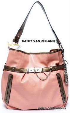 NWT- KATHY VAN ZEELAND LUXURY PIN UP BLUSH HOBO PURSE on eBay!