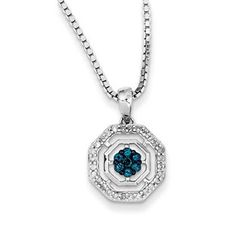Sterling Silver 1/4 Carat White Blue Diamond Pendant Necklace Available Exclusively at Gemologica.com