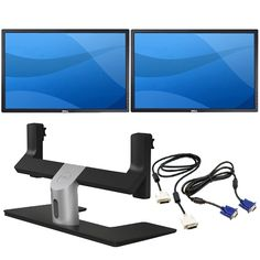 Two Dell UltraSharp U2412M 24-inch Widescreen Monitors with Dell MDS14 Dual Monitor Stand