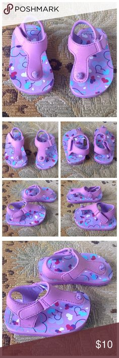 Garanimals Purple Heart Toddler Sandals 5 NWOT Garanimals. Super cute purple, pink, blue, white sandals. Velcro closure. Toddler size 5. Brand new without tags. Garanimals Shoes Sandals