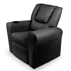 Childs Recliner Chair Luxury PU Leather Padding w/ Drink Holder Black