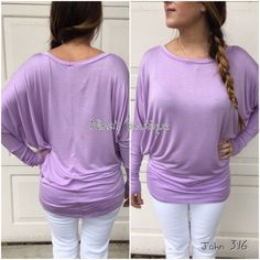 Dolman tunic tops Rayon jersey top with dolman sleeves in                    Lavendar - Price is firm unless bundled. 95% rayon 5% spandex - Large (10/12) XL (14) Tops Tunics