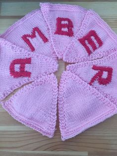 "Handmade Personalised Knitted Bunting ""Amber"" Gift Baby Toddler  
