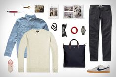 Rogue Territory Work Shirt ($220). Acne Studios Jeans ($200). A.P.C. Vintage Jersey Crew Sweater ($135). Nike for J.Crew Killshot 2 Sneakers ($70). Apolis Washed Linen Pocket Square ($32). Miansai Trice... Visit Uncrate for the full post