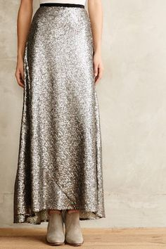 Liza silver sequin Maxi Skirt - anthropologie.com