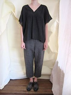 Linen or wool gauze pullover with ankle pants  WORTHWHILE: ARTS AND SCIENCE