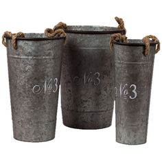 """Evoke elegant French country chateaus or sunny seaside villas with this lovely set, offering warmly textured appeal and rustic-chic charm for your home.     Product: 1 Small, 1 medium and 1 large bucket  Construction Material: Metal  Finish: Metallic  Features: Will enhance any décor  Dimensions: 18.9"""" H  Cleaning and Care: Wipe with clean damp or dry cloth"""
