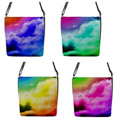 """""""Rainbow Clouds"""" Chameleon Removable Flap Shoulder Bag (Regular) Rainbow Cloud, Chameleon, Shoulder Bags, Clouds, Things To Sell, Chameleons, Shoulder Bag, Cloud"""