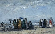 Beach at Trouville by Eugene Boudin  1869