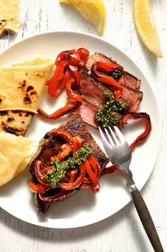 Sirloin Steak with Pesto, Capsicum and Flatbread - if you invest in a great steak, keep it simple and concentrate on great sides. #beef #steak #flatbread #pesto #bell_pepper #capsicum