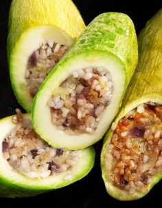 Stuffed zucchini with rice and spices, typical Turkish recipe