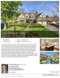 Sierra Oaks. Sacramento's most coveted neighborhood. Just doors from the most expensive home ever sold in Sacramento.