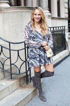 elizabeth and james charlee silk dress, stuart weitzman lowland boots // the stripe.