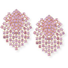 Alexander Laut Pink Sapphire Fringe Earrings in 18K Gold (£13,520) ❤ liked on Polyvore featuring jewelry, earrings, fringe earrings, gold round earrings, earring jewelry, pink sapphire earrings and gold earrings