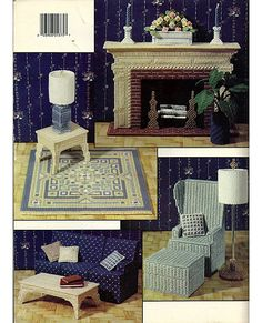 The Living Room In Plastic Canvas Fashion Doll Playhouse Book 1 Leisure Arts Leaflet 1375.