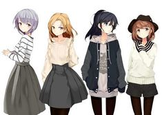 Drawing girl with short hair anime art ideas Anime Group Of Friends, Friend Anime, Anime Best Friends, Anime Girl Cute, Kawaii Anime Girl, Anime Art Girl, Manga Girl, Anime Girls, Girl With Purple Hair