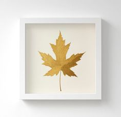 Gold original painting of a Maple leaf – acrylic painting in gold or silver. Handmade and perfect for an elegant home, it is painted with a