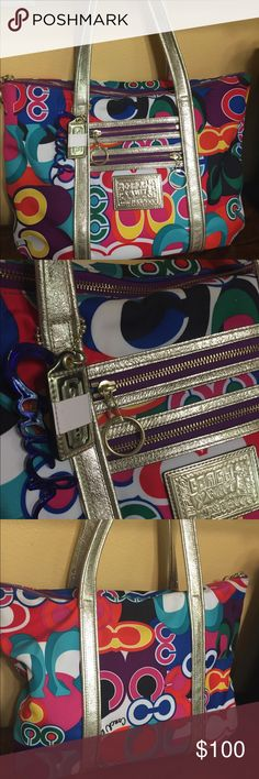 Authentic Multi-Color Coach Bag- Poppy Collection Like new condition, 100% authentic Coach bag (see identification number, pictured). Multicolor, part of the poppy collection. Great size- shoulder or hand hold. Coach Bags Totes