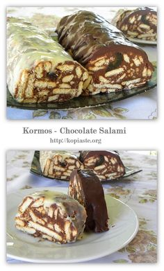 "Kormos in Greek means tree log and has been named after its shape.    You can find this dessert under the name ""Mosaiko"", which means mosaic, from the patterns made when the dessert is cut and in Cyprus it is known as ""Doukissa"", which means duchess."