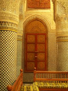 Fes, Morocco  looks a window frame on the door