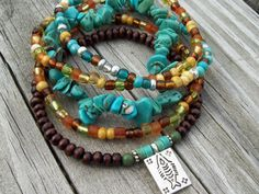 Turquoise Chip and Wood Stacked Stretch Beaded Bracelets with Fish Charm
