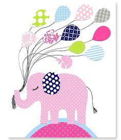 Girl's Elephant Nursery Art Print Child's by SweetPeaNurseryArt, $15.00