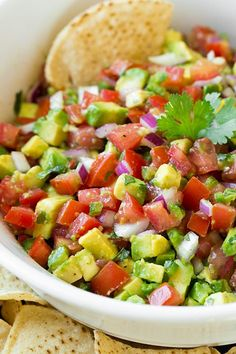 Avocado Salsa - so good you'll ditch the chips and just start eating it by the spoonful! SO delicious!