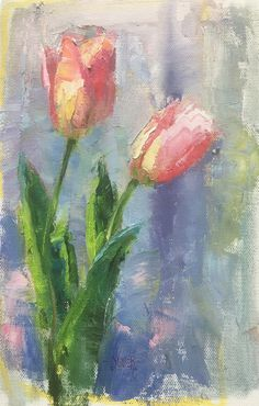 Art Talk - Julie Ford Oliver: Different Studies of Pink Tulips