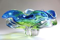 murano glass vases and bowls | 60/70's Murano Sommerso Pinched Glass Bowl