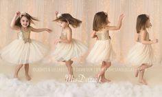 Elfenbein Flowergirl Kleid Elfenbein Gold Kleid Gold von MrsDazzle