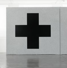 Sol LeWitt, Wall Drawing #343g. On a black wall, a cross within a square. The…