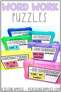 Choose from different sets of phonics puzzles for word work practice