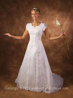 Temple lds gowns on pinterest wedding dress sleeves for Temple ready wedding dresses