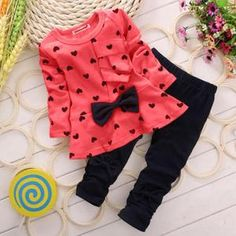 Girl outfit very nice lightweight and comfortable size years old Dance Outfits, Girl Outfits, Frocks For Girls, Valentines Outfits, Dress With Bow, Red Fashion, Spring Collection, Black Leggings, Outfit Sets
