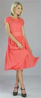 e78d61556d9d3 Lace top and perfect coral color! Isabel Modest Dress by Mikarose, Vintage  Dress, Church Dresses
