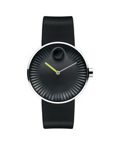Men's Movado Edge watch, 40 mm polished stainless steel case, concave sandblasted black aluminum dial with raised polished tonal dot, sculpted ray-textured edge, matte neon green hour hand and glossy gray minute hand, black rubber strap with polished stainless steel buckle MODEL: 3680002.!Price: $475.99