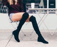 Suede Over the Knee Slouchy Flat Boots – Zeelous