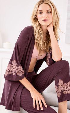 Make bedtime luxurious with this beautiful pajama cardi wrap featuring kimono-inspired sleeves. Soma   Beautiful Sleepwear