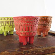 Littlefoot Ceramic Planter. Cool geometric sgraffito.