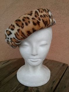 Vintage 1950s Hat New Look Leopard Print Pillbox by bycinbyhand