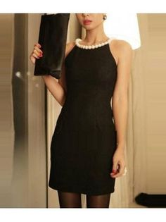 Luxury Pearl Decoration Collar Black Sheath Dress for Cocktail